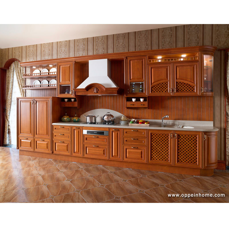 China Noble Cheery Solid Wood Kitchen Cabinets OP13 007 Photos