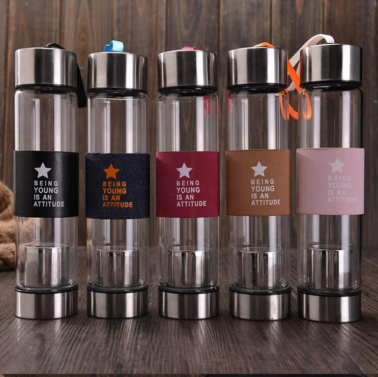 Colorful 450ml Portable Glass Bottle Glass Water Bottle