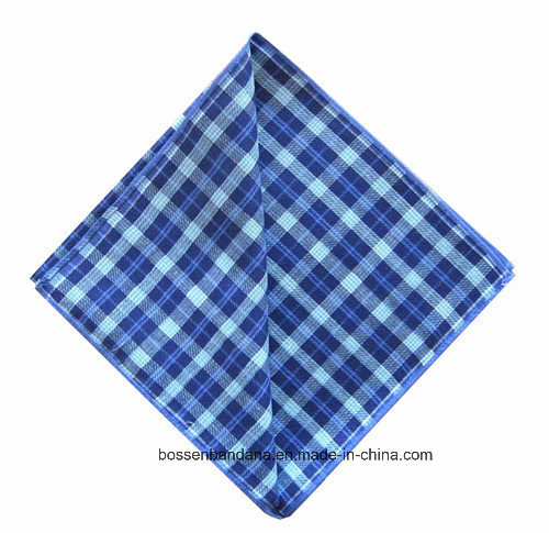 Factory Produce Checked Blue Printed Yarn Dyed Men′s Cotton Handkerchief