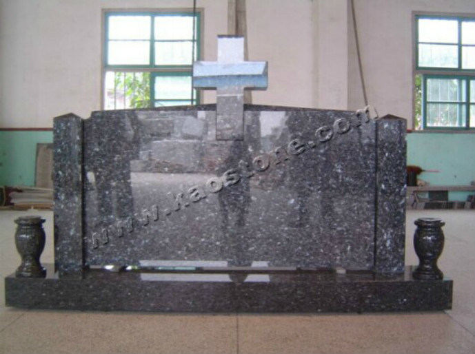 Blue Granite Tombstone / Monument - Vizag Blue