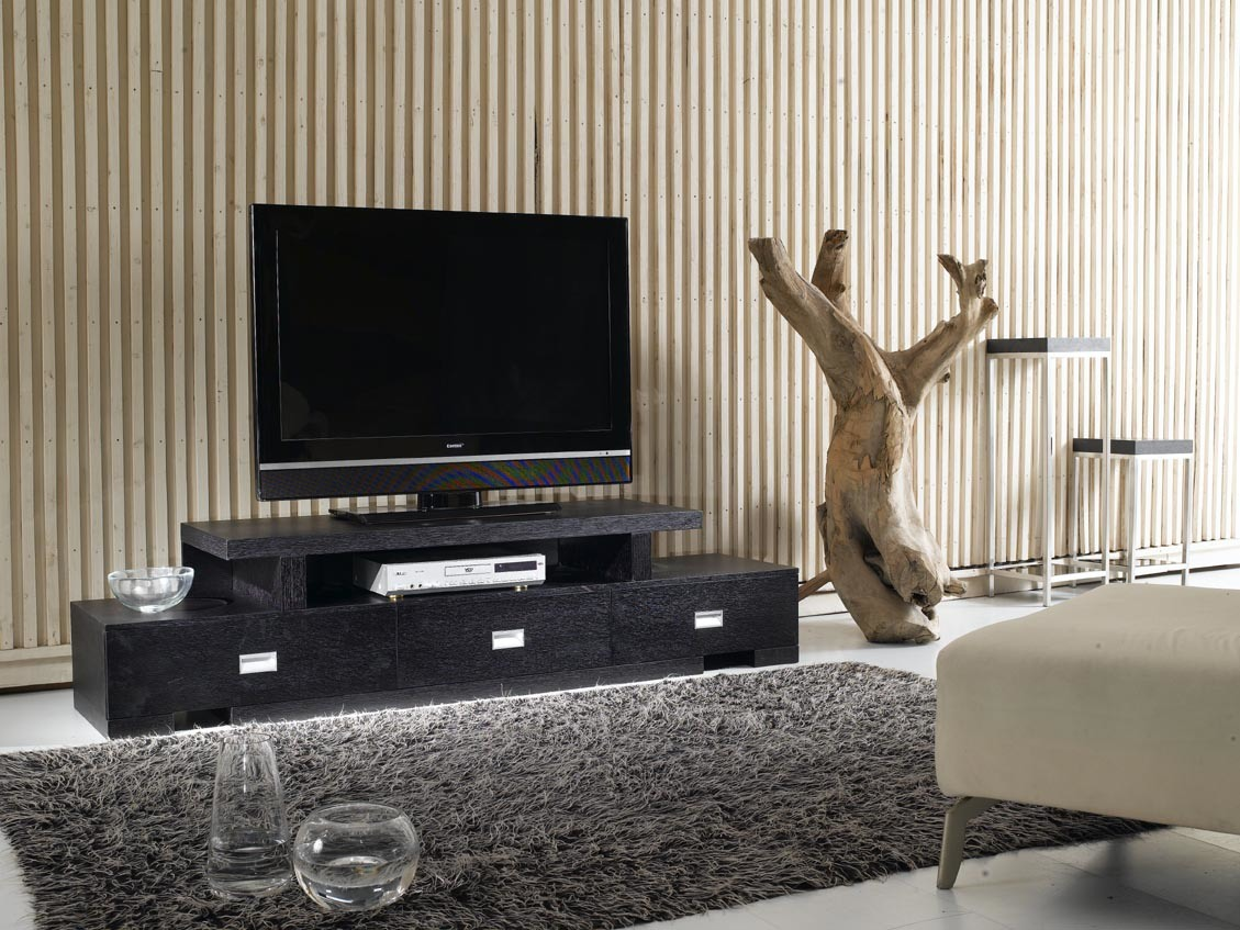 China home furniture black oak modern design tv stands 379 for Table tv design