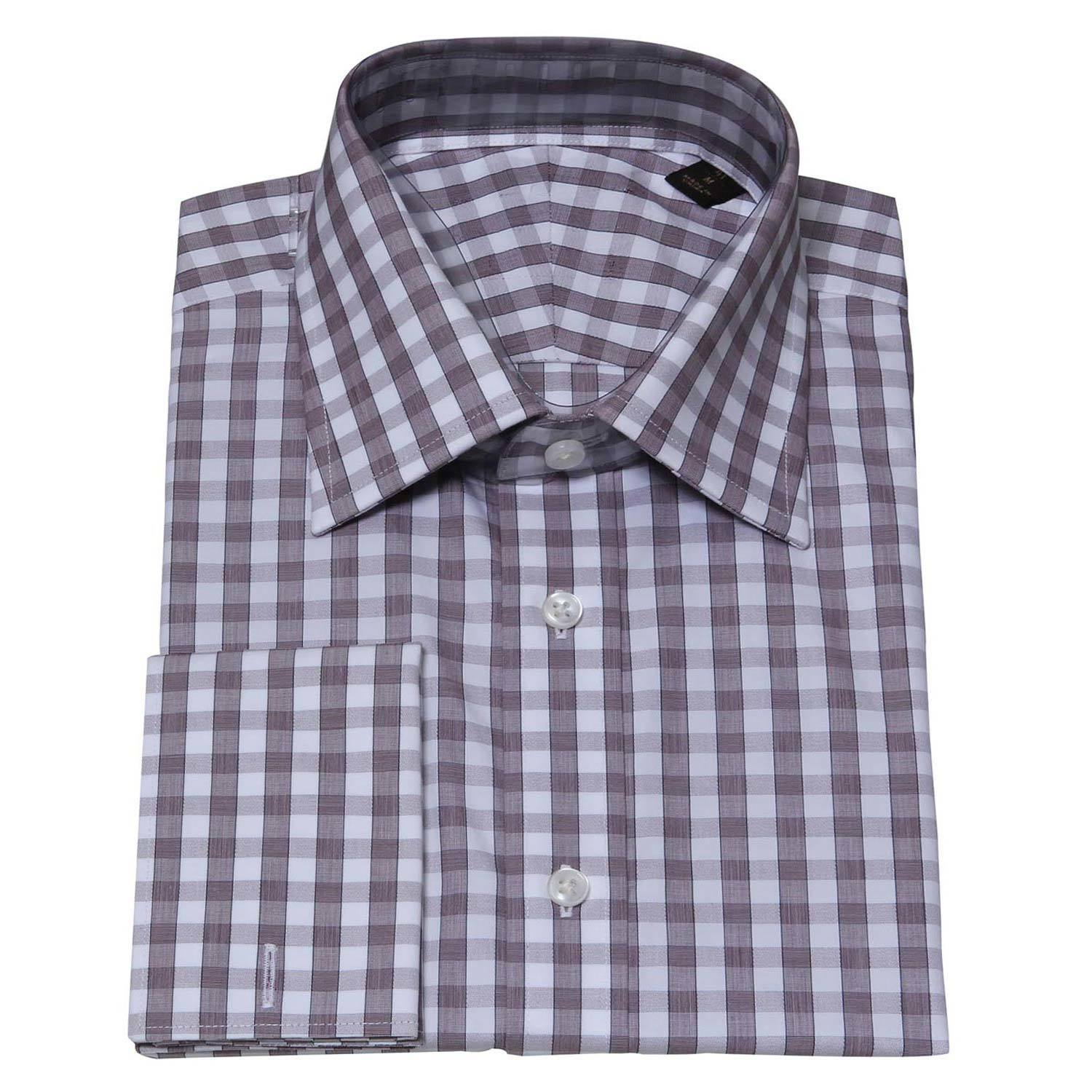 China men s long sleeve check spread collar dress shirt for Men s spread collar shirts