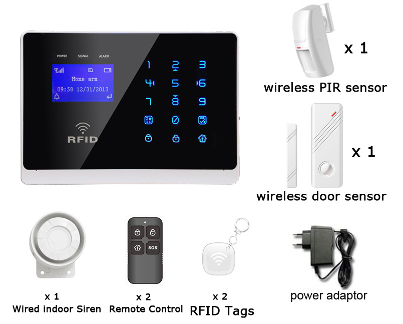 GSM Wireless Home Security Burglar Alarm with Touch Keypad (YL-007M2FX)