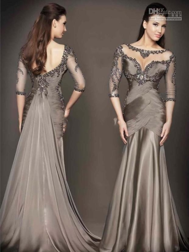 China evening dress coffee gown bridesmaids prom formal for Cocktail dress with sleeves for wedding