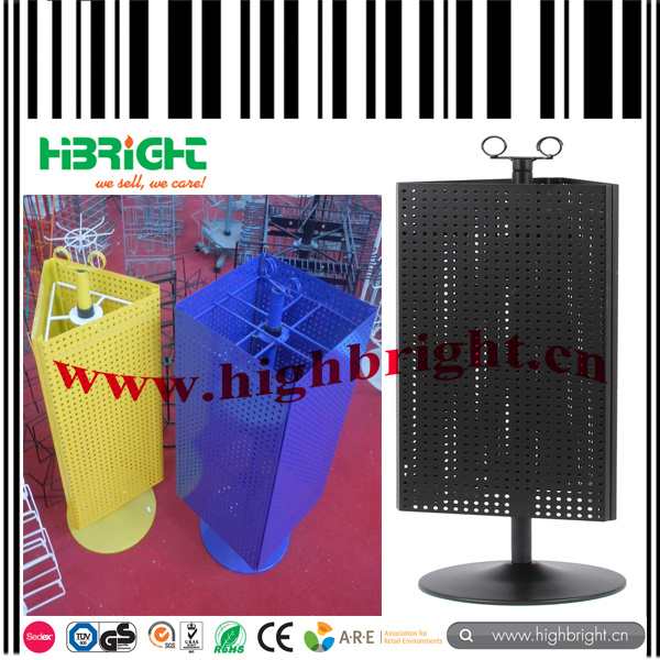 3 Sided Rotating Tablet Metal Pegboard Display Stand