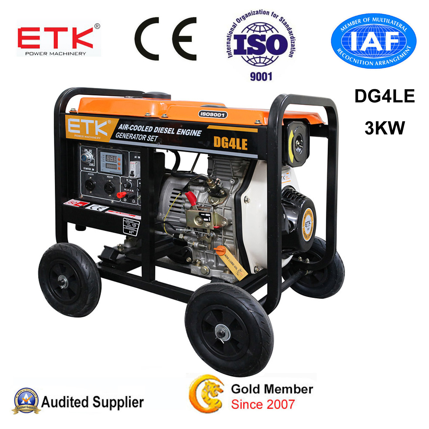 China 3kw Back Side Diesel Generator with CE China Air Cooled