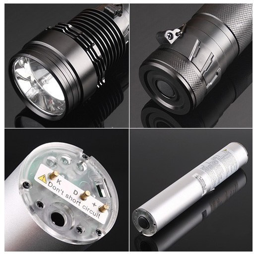 2000 Lumens 1km Radiation Distance LED Torch Light with 6000k Color Temperature