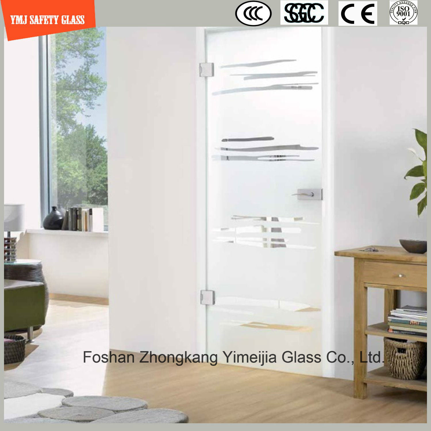 Anti-Fingerprint Acid Etched Glass Door