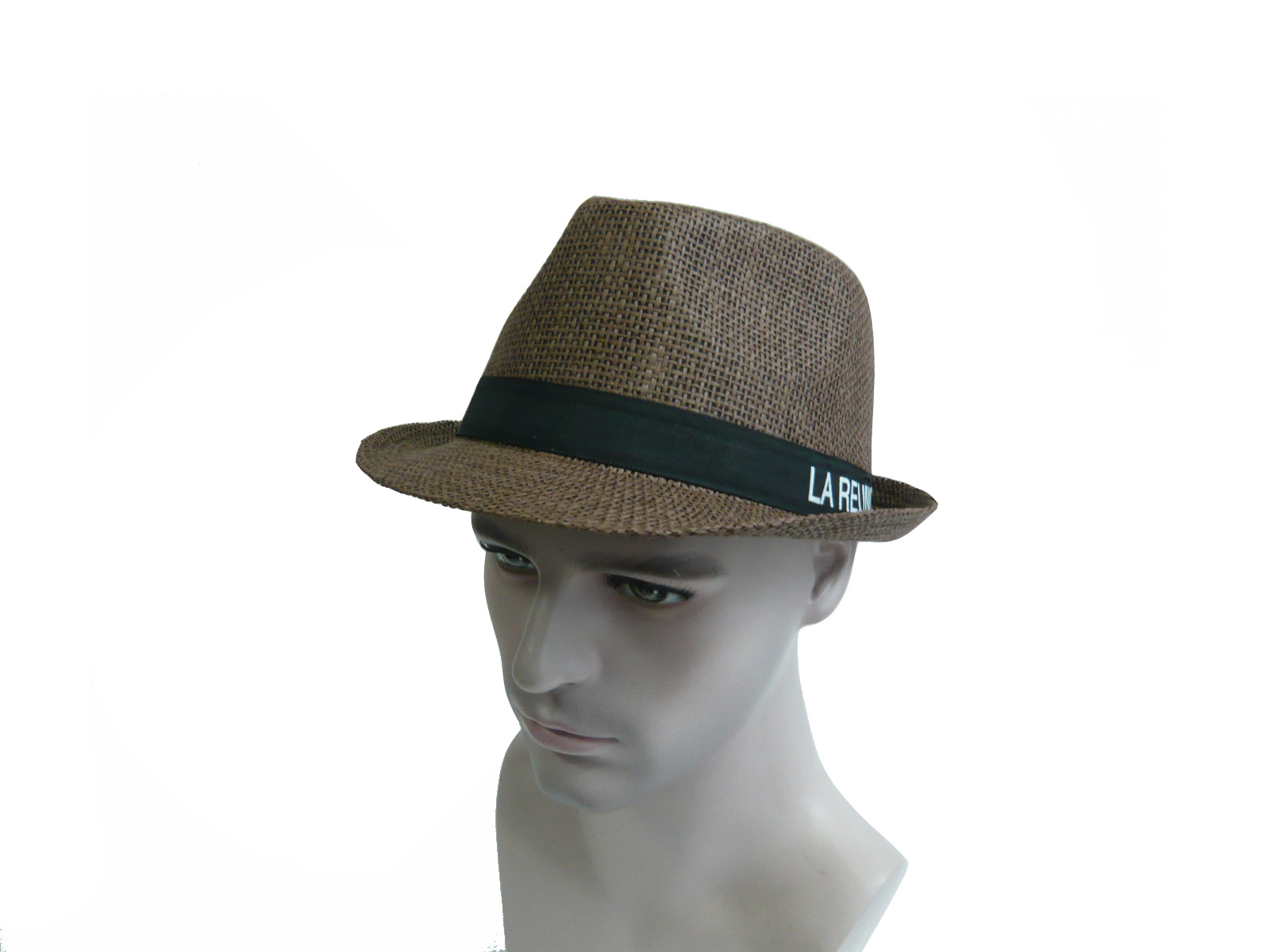 Pure Color Men Straw Hat with Ribbon Letters
