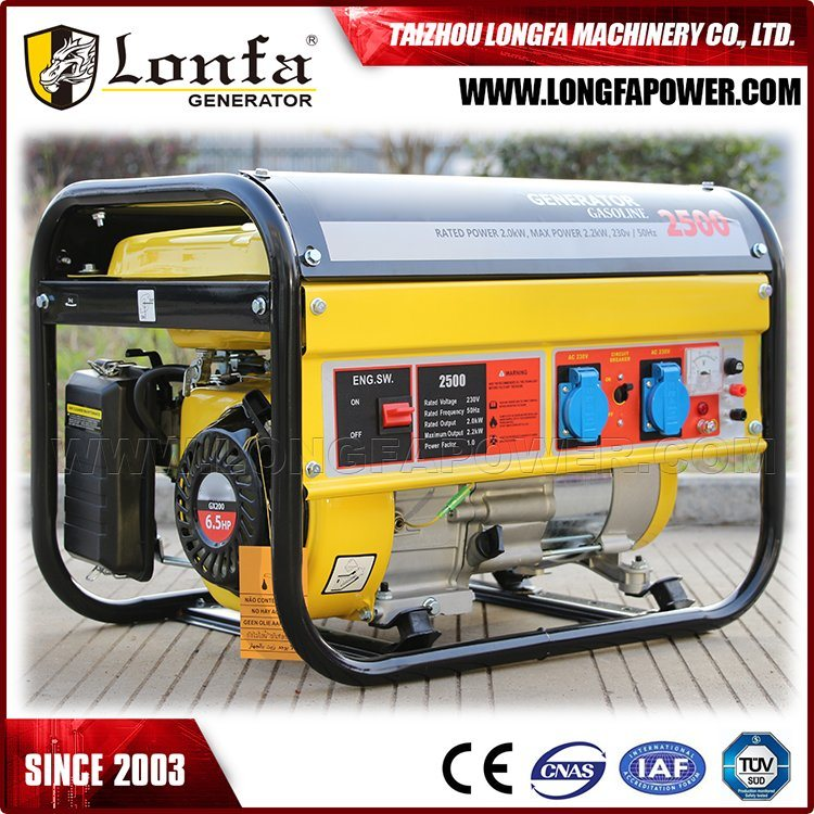 2.2kw Electric Start 4 Stroke 6.5HP Gasoline Generator