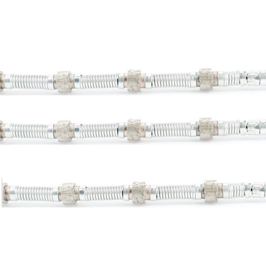 Spring Diamond Wire Saw with Sintered Diamond Beads for Dry and Wet Cutting of Marble Limestone and Travertine in Quarry