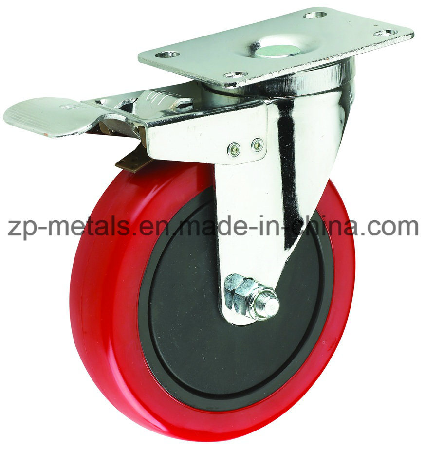 Medium-Duty Red PVC Caster Wheel with Whole Brake