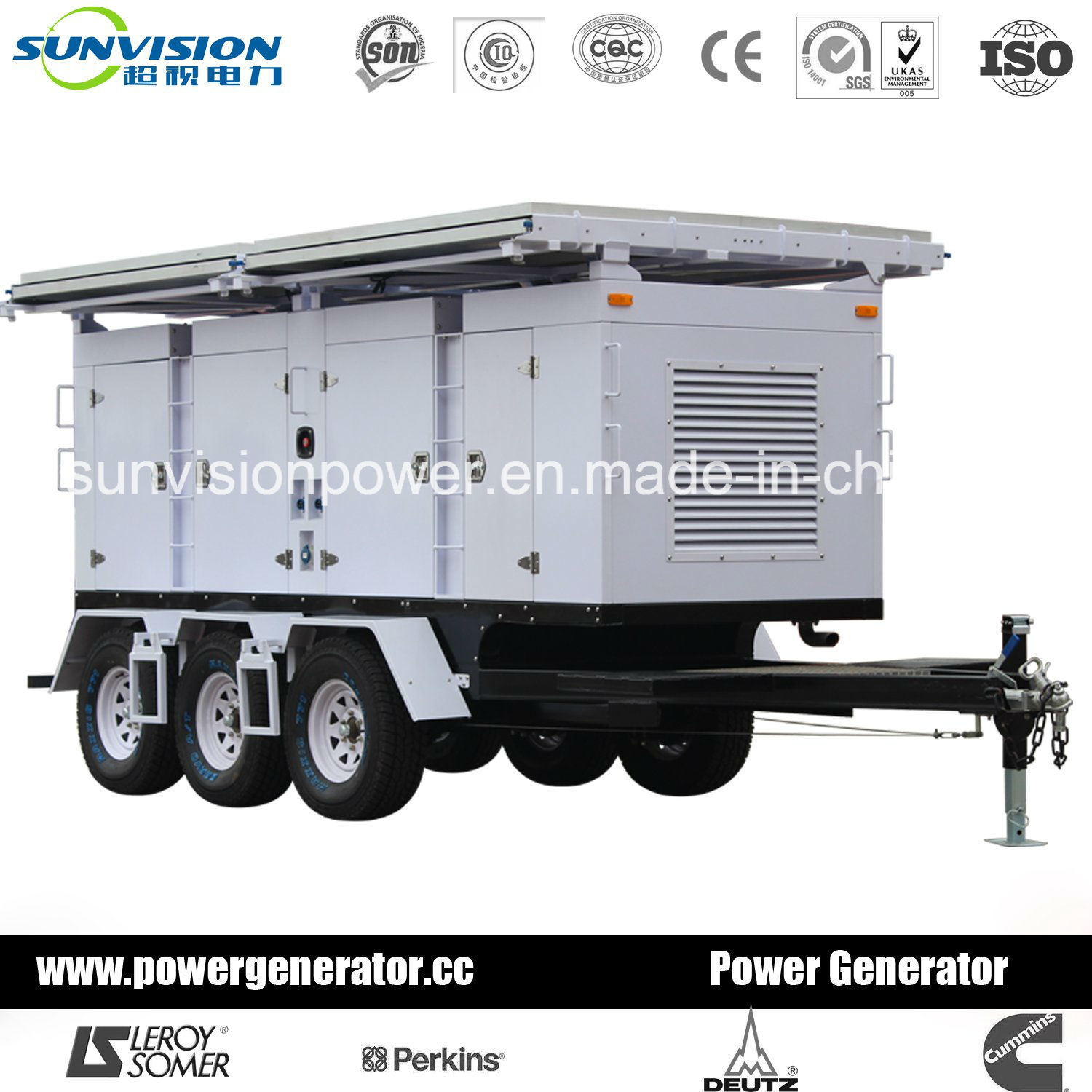 20kVA Mobile Generator, Genset with 2 Wheels Trailer