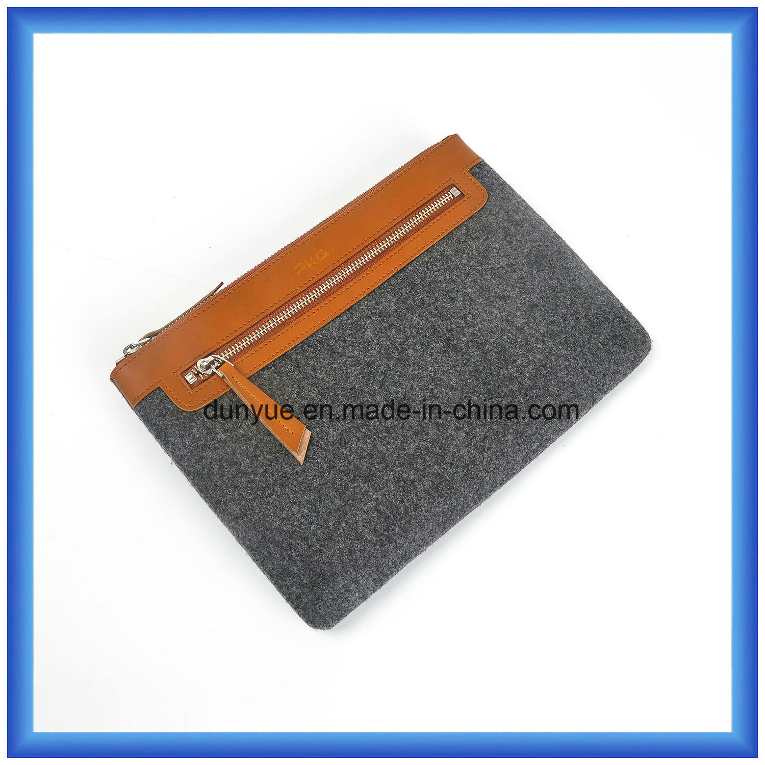 Young Design Customized Wool Felt Briefcase Bag, Hot Promotion Hand Bags with PU Leather Handle