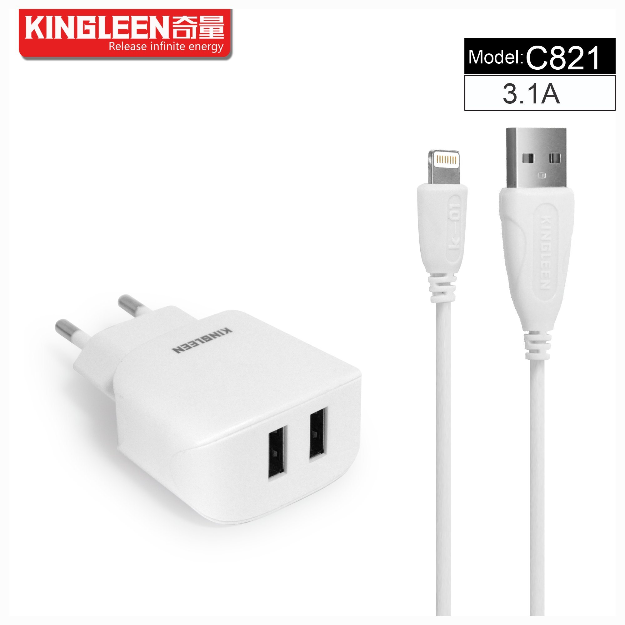 Kingleen C821 Micro/iPhone Dual USB Intelligent Battery Charger 5V3.1A Hot Sale