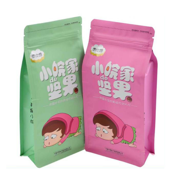 Flat Bottom Stand up Pouch Aluminum Foil Zip Lock Food Bag/ Customzied Design Laminated Stand up Pouch Food Plastic Bag