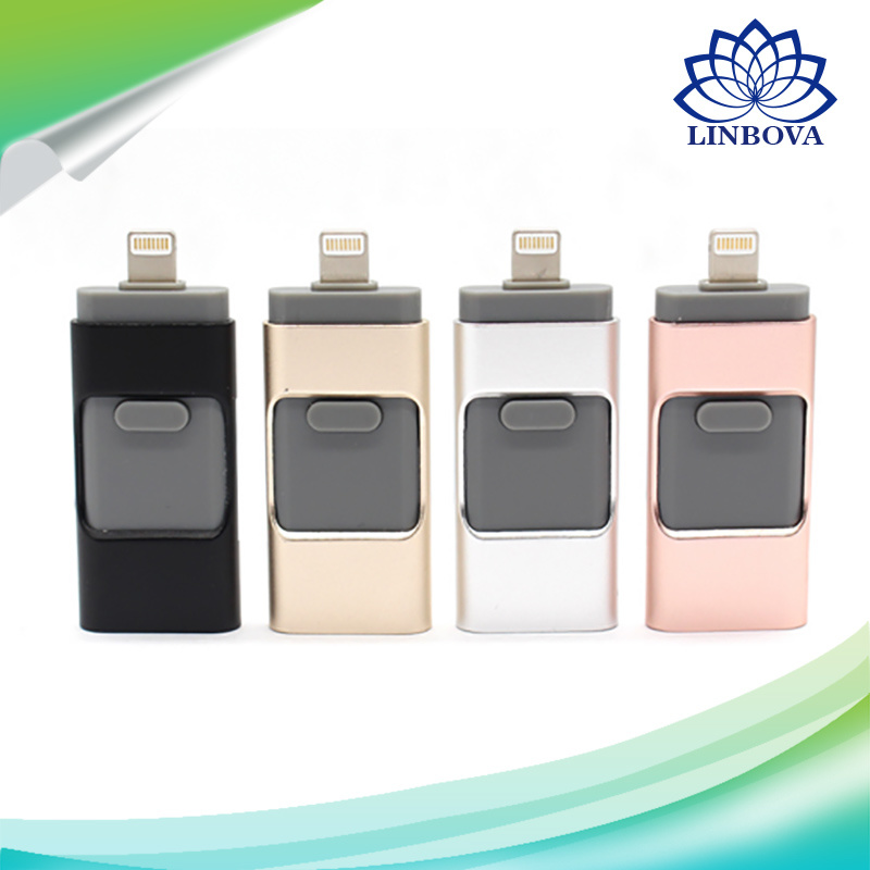 3 in 1 OTG USB Flash Drive USB3.0 Stick Pendrive External Storage Expansion Connector Flash Memory for iPhone Ios PC Android