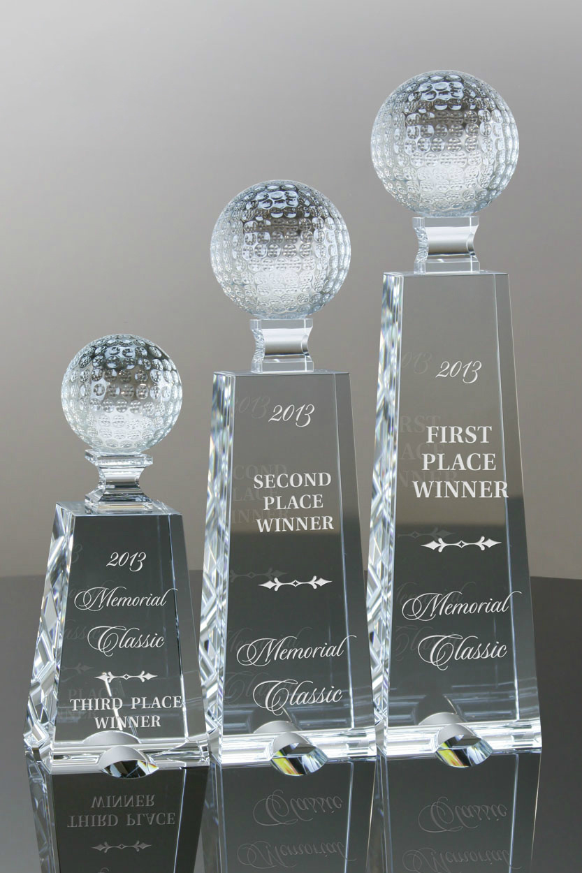 Zenith Award Trophy Clear and Black Optical Crystal to 1st Place Winner for Competitions (#5345)