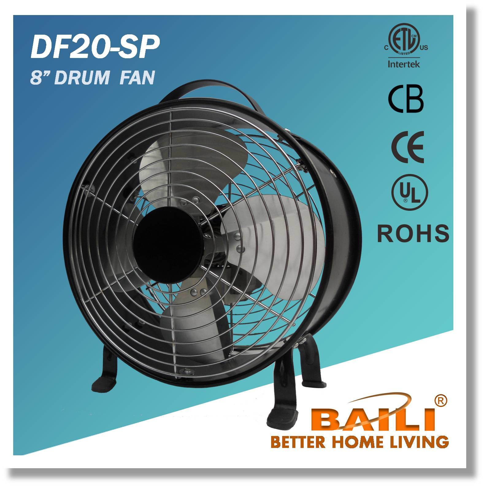 "High quality 8"" Drum Fan with 100% Copper Motor"