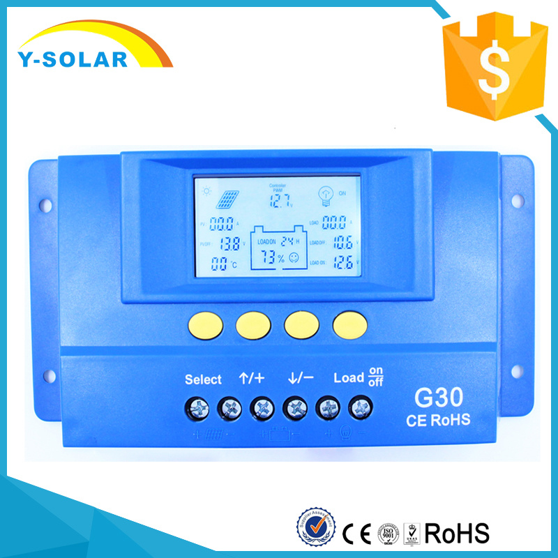 30A 12V/24V Solar Panel Cell PV of Charge Controller with Backlight G30