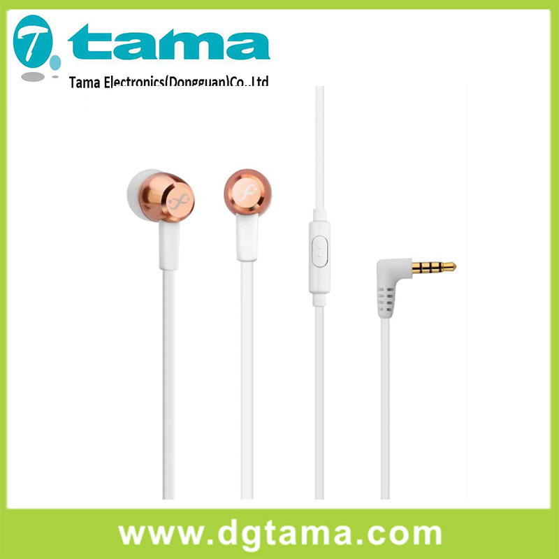 3.5mm Stereo Metal Head L-Shaped Earphone with Microphone Cheap Price