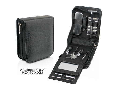 Multi-Function Personal Care Black Leather Manicure Set for Man
