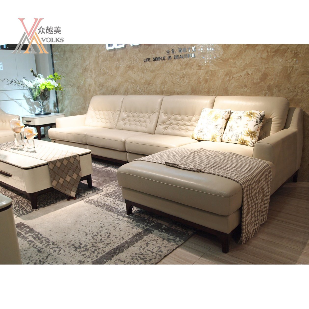 Fashion American Style Modern Leather Sofa with Corner (1621A)