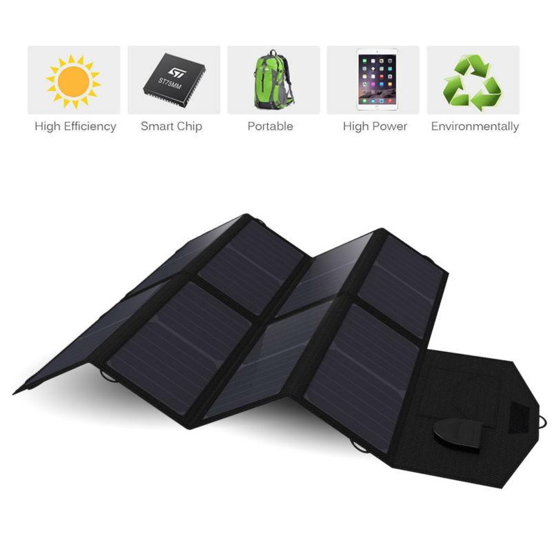 Portable Foldable Solar Panel Charger 40W18V 5V Dual Ports