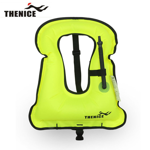 Unisex Adult Portable Inflatable Canvas Life Jacket Snorkel Vest for Diving Safety