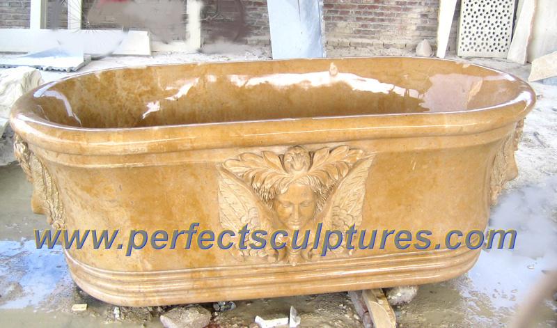 Baño De Tina Natural:Tina de baño tallada mármol de piedra natural (QBN064)
