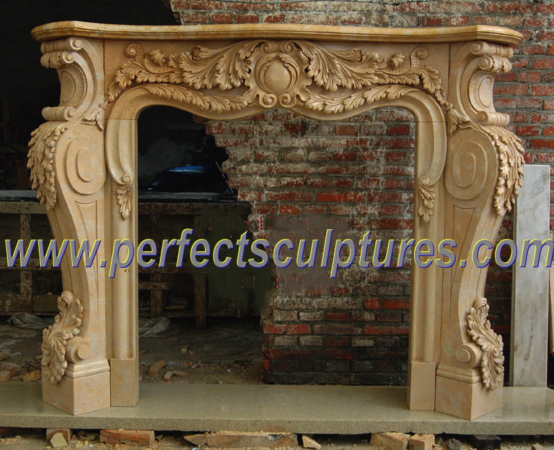 Carved Stone Fireplace for Marble Sandstone Limestone Granite Mantel (QY-LF087)
