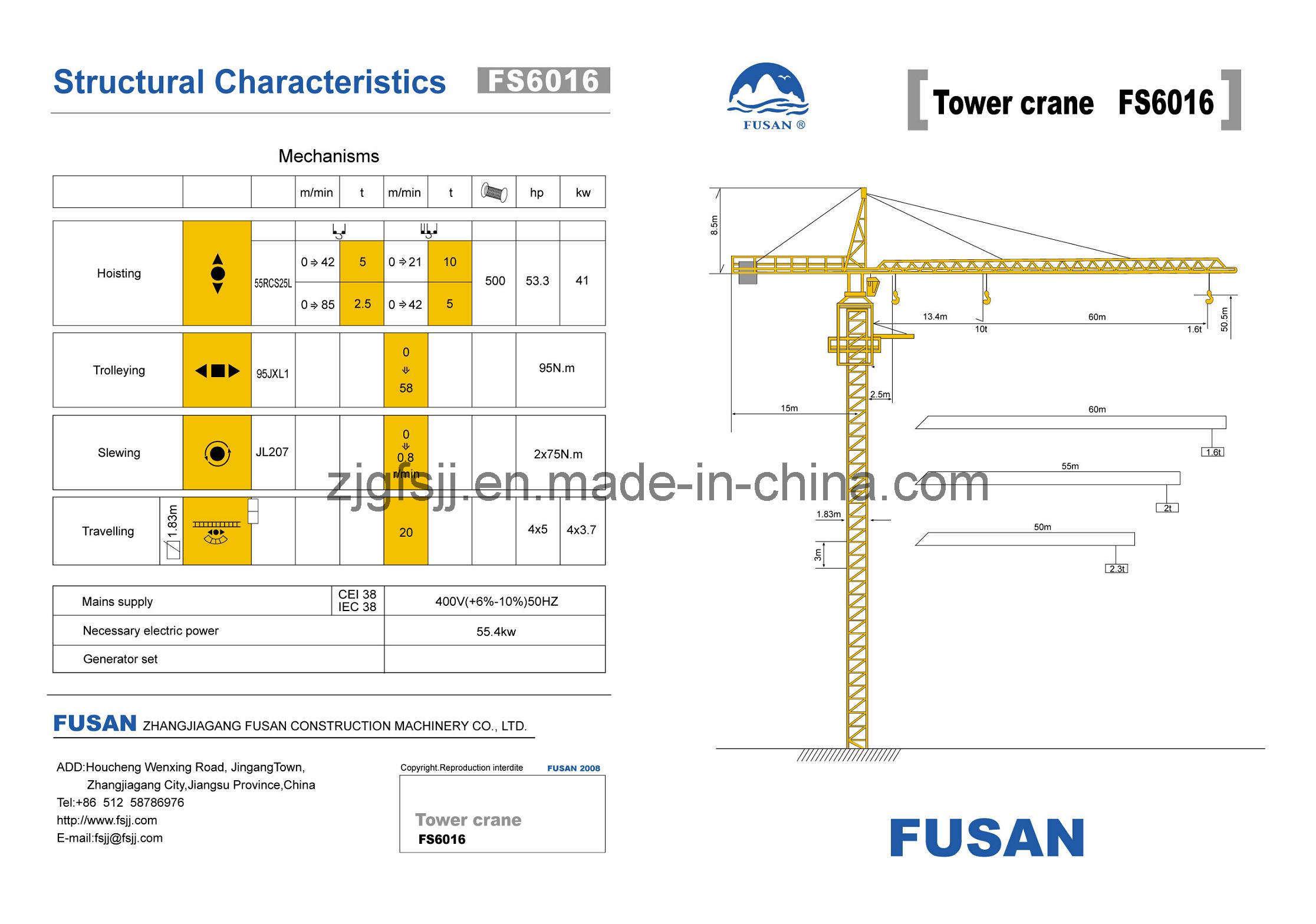 Tower Crane Sizes : China tower crane fs construction machinery