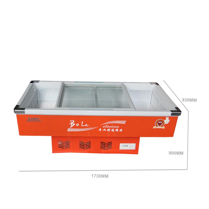 Single Temperature Sliding Glass Door Seafood Freezer with LED Light