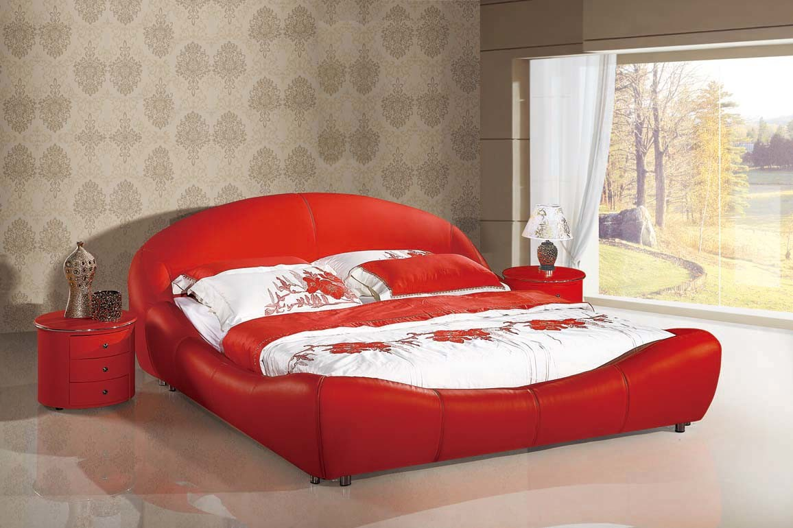 China bed leather bed soft bed sofa bed bedroom set for Bedroom sofa set