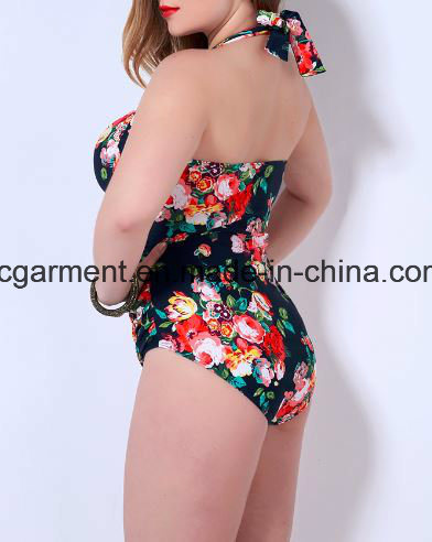 Sweet Large Size Printed Swimsuit for Women, Plus-Size One-Piece Swimming Wear