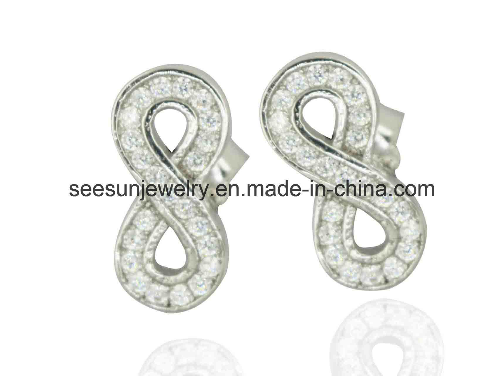 925 Silver Jewelry Infinity Stud Earring