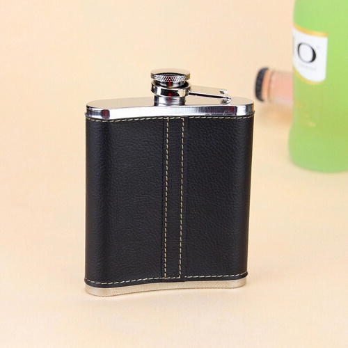 7 Oz Stainless Steel Hip Flask with Leather Coated