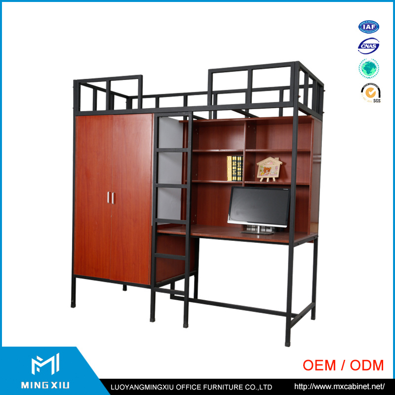 China Mingxiu Metal Double Bunk Bed / Metal Student Dormitory Bed with Locker