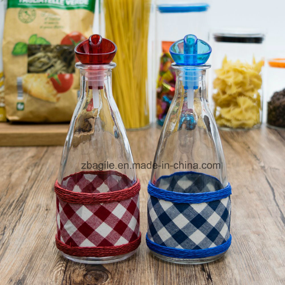 Factory Wholesale New Design Colorful Liquid Olive Oil Red Blue Glass Bottle (300056)
