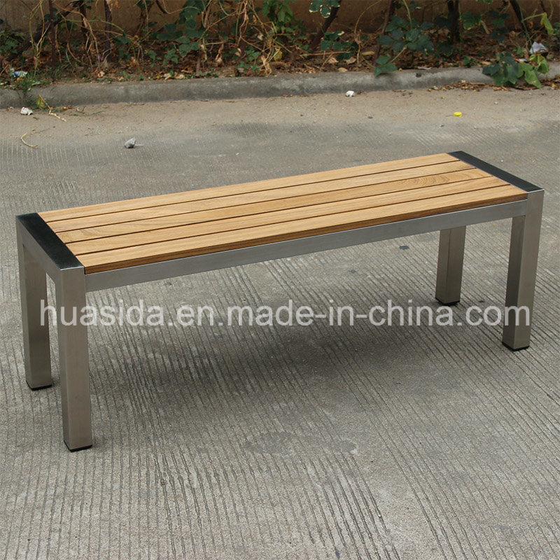 Park Used 304 Stainless Steel Teak Wood Bench