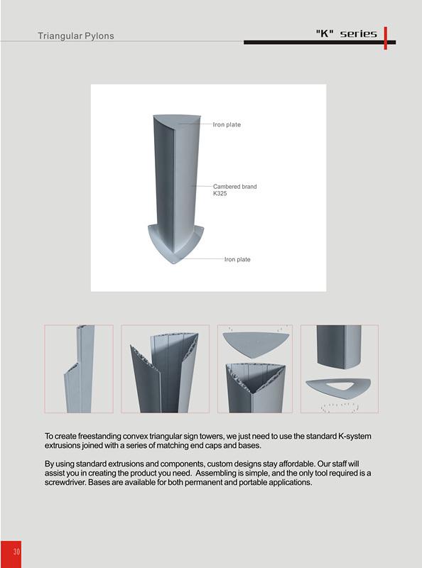 Aluminium Profile Curved Way Finding Triangular Pylon