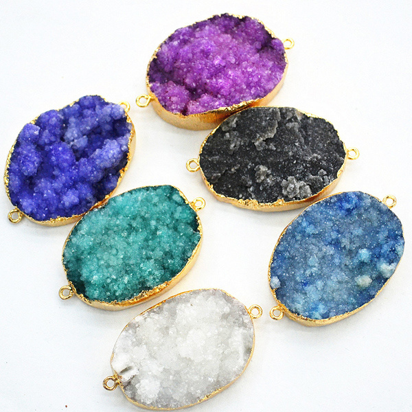 Wholesale Colors Nature Druzy Stones Jewelry pendant