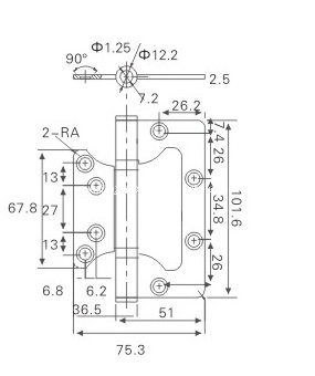 SUS304 Satin Finish Flush Hinge for Wooden Door (2543-DYJ9)
