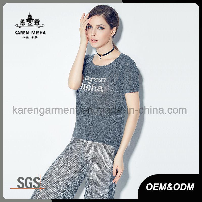 Ribbed Round Neck Short Sleeve Women Customized Logo Knitted Shirt