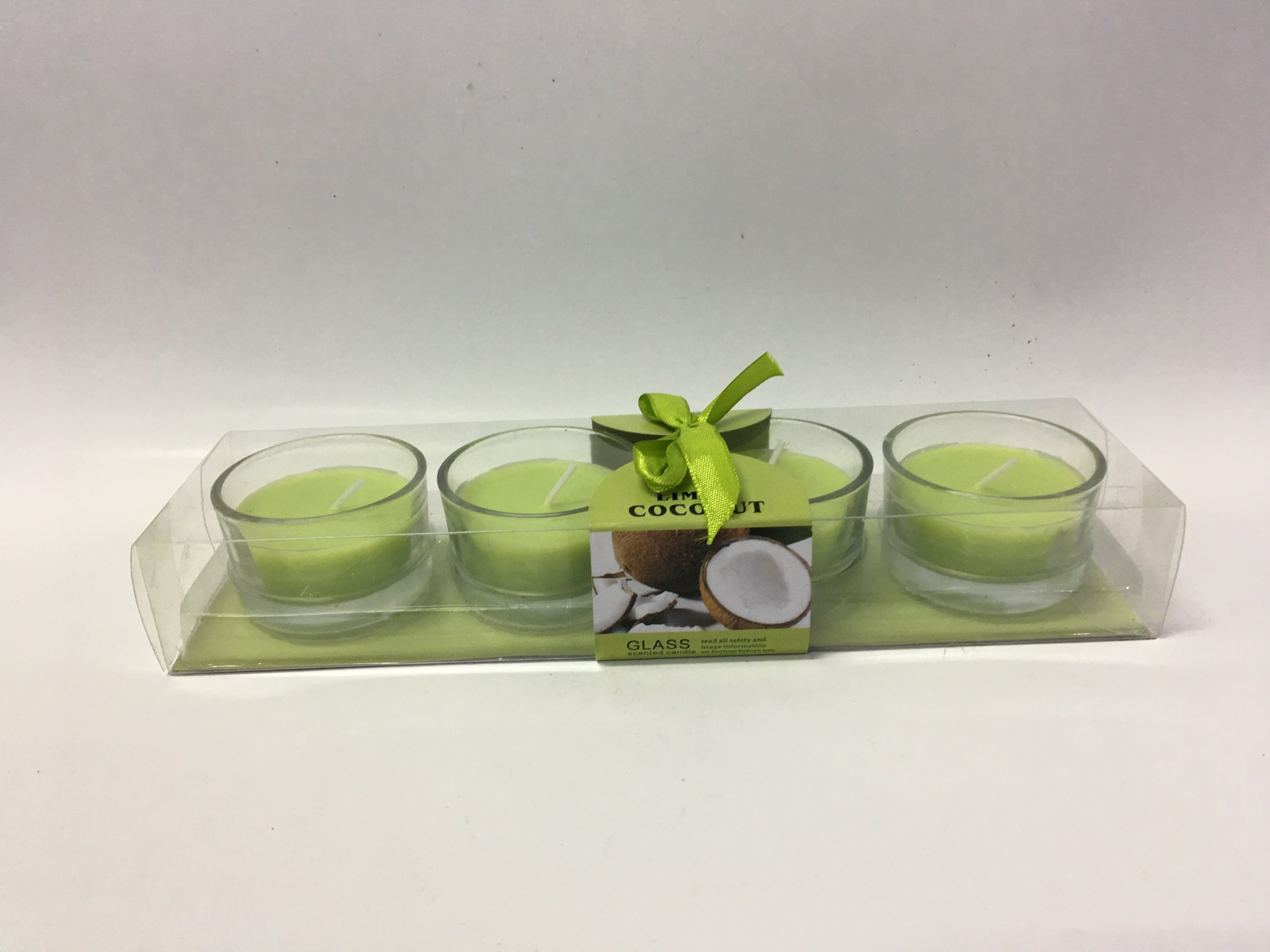 Coconut Green Scented Tea Light Candle in Glass Jar