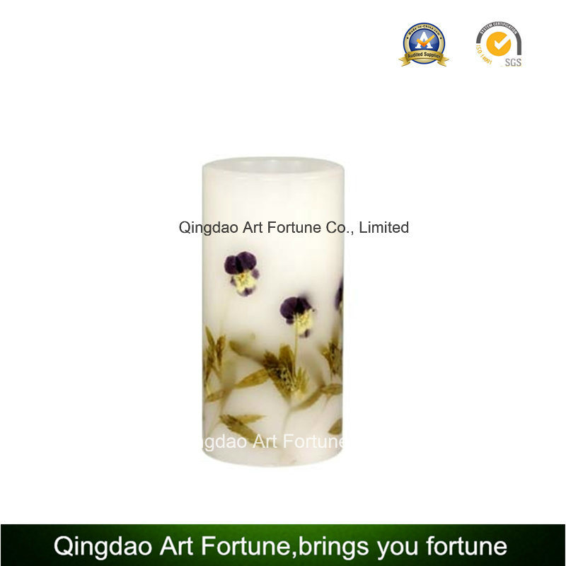 Inclusion Glass Candle with Dry Flower and Votive Candle Inside