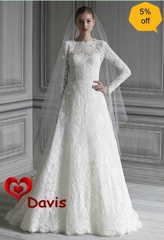 Long Sleeve White Lace Wedding Dress WD3041
