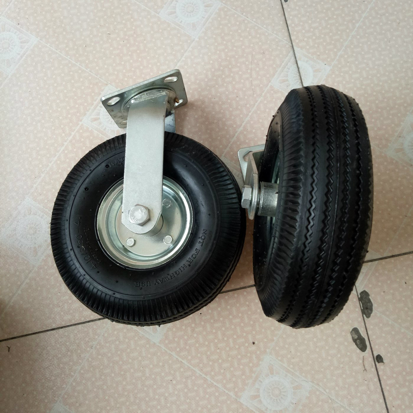 10 Inches Industrial Black Rubber Pneumatic Wheel Caster