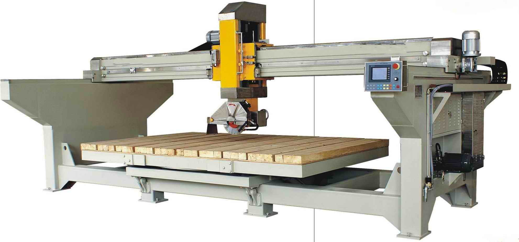 Automatic Bridge Saw with 45 Degree Table Tilting