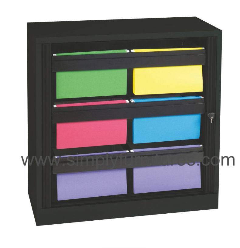 China Roller Shutter Door Cabinet in Black with Drawer - China ...